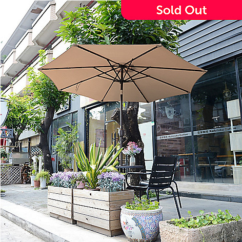 Villacera 9 Solar Powered Led Lighted Patio Umbrella W Push Button Tilt Shophq