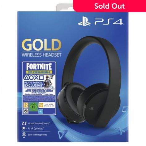 PlayStation Gold Wireless Headset - Jet Black w/ Fortnite Game - ShopHQ